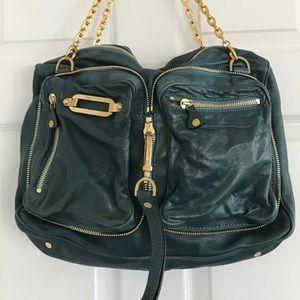 Jimmy Choo Ocean Blue Leather Hobo Zipper Chain